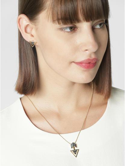 Golden Triangular Pendant Necklace Set