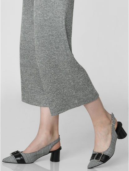 Black Houndstooth Print Block Heels