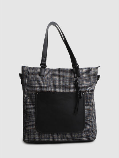 Navy Blue Check Tote Bag