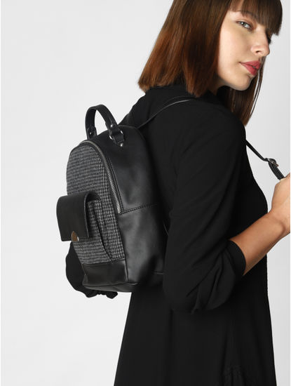 Black Check Backpack