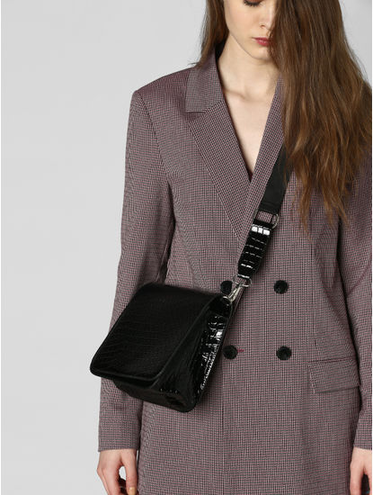 Black Croc Embossed Crossbody Bag