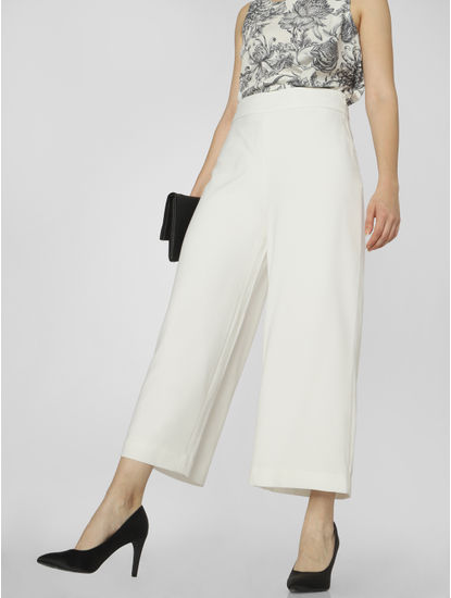 White Mid Rise Culottes