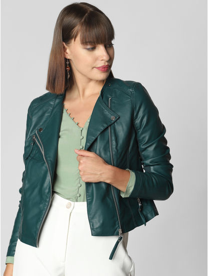 Teal Blue Faux Leather Short Jacket