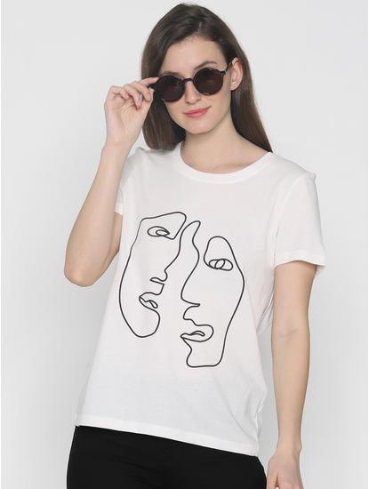 White Graphic Print T-Shirt