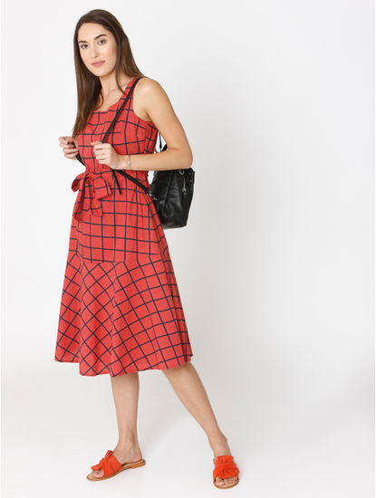 Red Check Belted Fit & Flare Dress