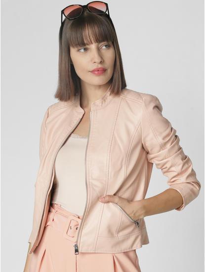 Beige Faux Leather Short Jacket