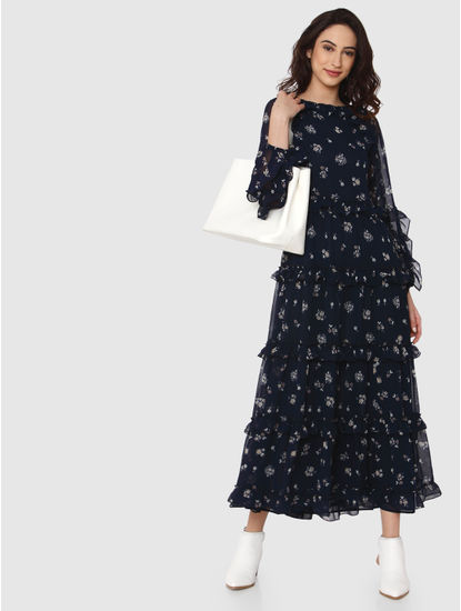 Navy Blue Floral Print Ruffle Maxi Dress