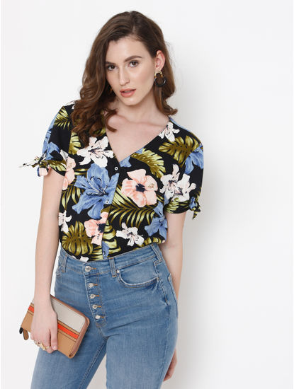 Navy Blue Floral Print Shirt