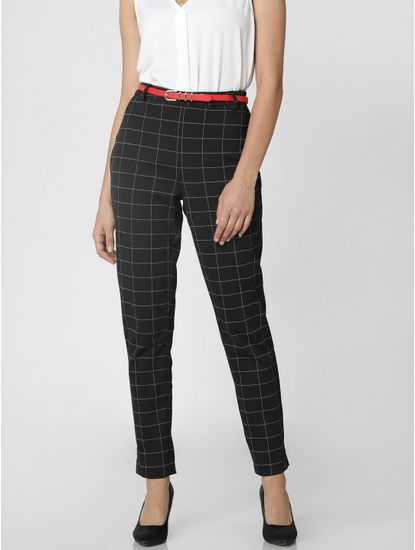 Black Mid Rise Check Pants