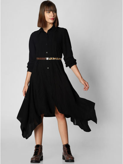 Black Asymmetric Shirt Dress