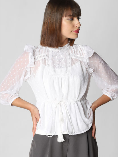 White Ruffle Drawstring Top