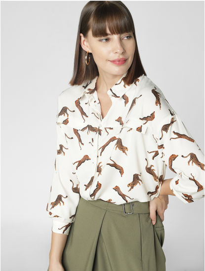 White All Over Print Shirt