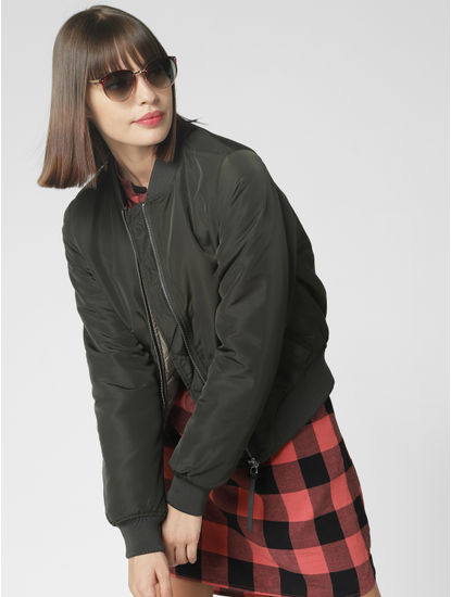 Dark Green Short Biker Jacket