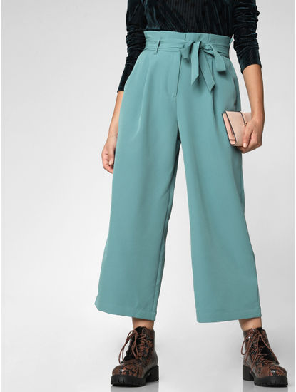Sea Green Paper Bag Waist Culottes