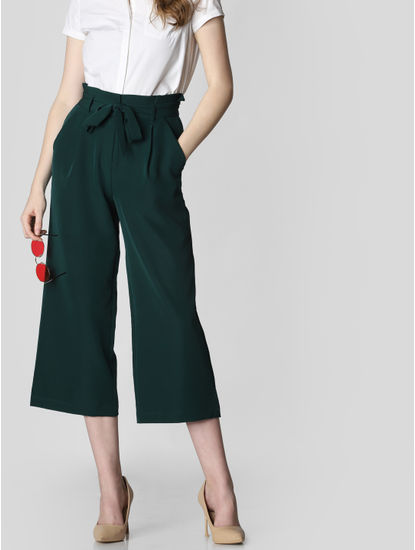 Dark Green Paper Bag Waist Culottes