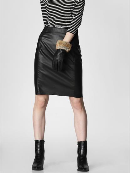 Black Mid Rise Pencil Skirt