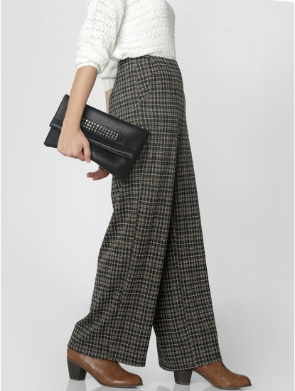 Black High Waist Check Flared Pants