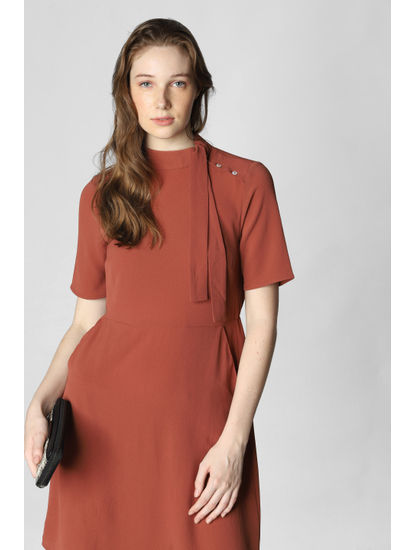 Brown Tie-Up Neck Mini Dress