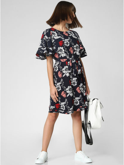 Navy Blue Floral Print Fit & Flare Dress