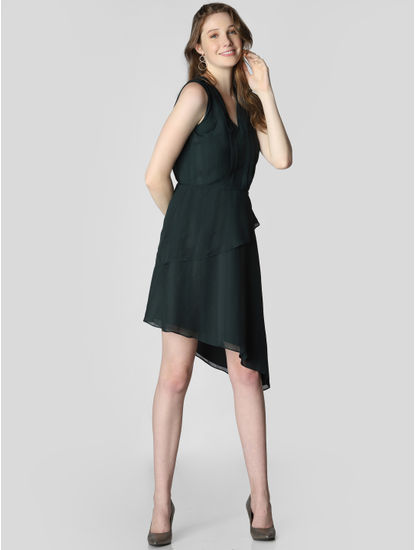 Dark Green Asymmetric Fit & Flare Dress