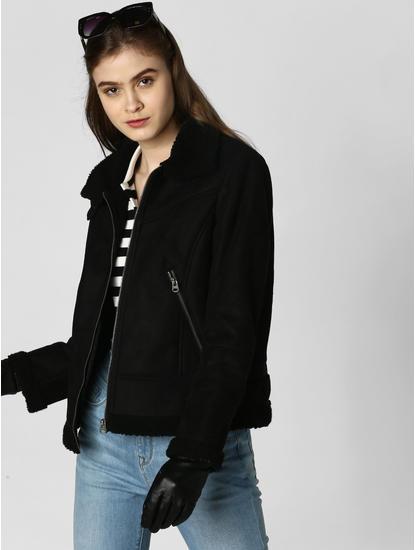 Black High Neck Shearling Jacket