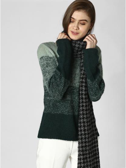 Green Colourblocked Pullover