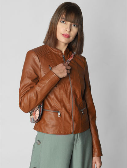 Brown Casual Pu Jacket