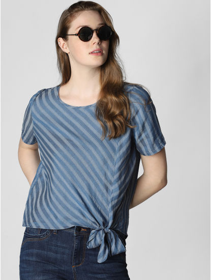 Blue Striped Front Knot Top