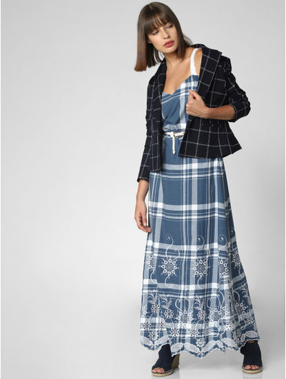 Blue Embroidered Check Maxi Dress