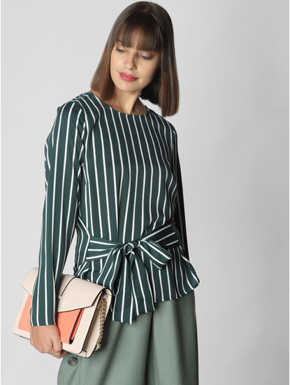 Dark Green Striped Top
