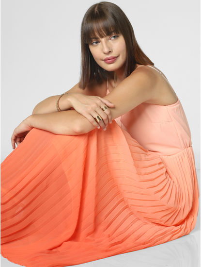 Peach Ombre Pleated Maxi Dress