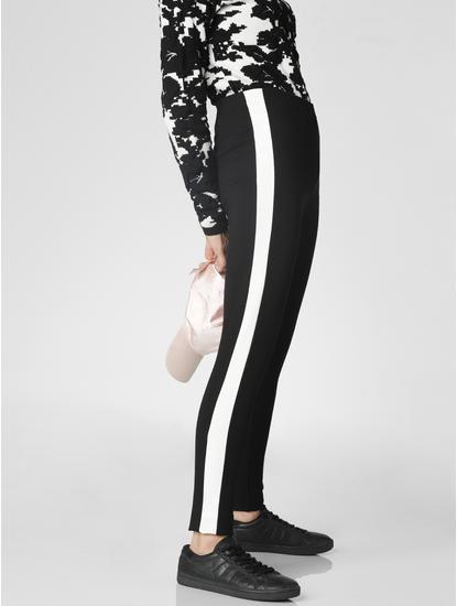 Black Mid Rise Tape Detail Skinny Leggings