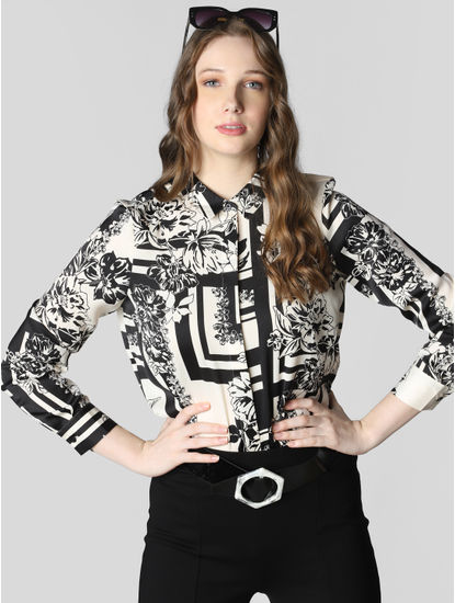 White Monochrome Print Shirt