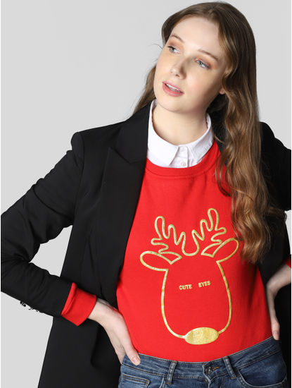 Red Reindeer Graphic Print Sweatshirt