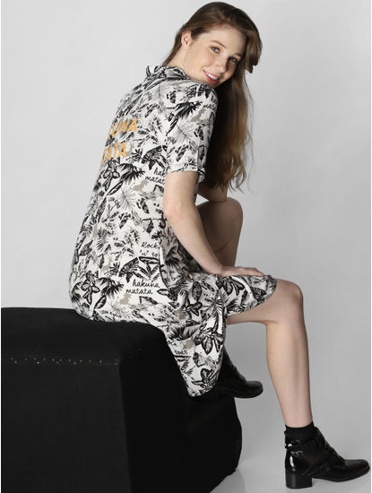 X Lion King White Foliage Print Shirt Dress