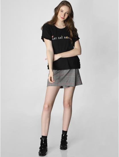 X Lion King Black Text Print T-Shirt