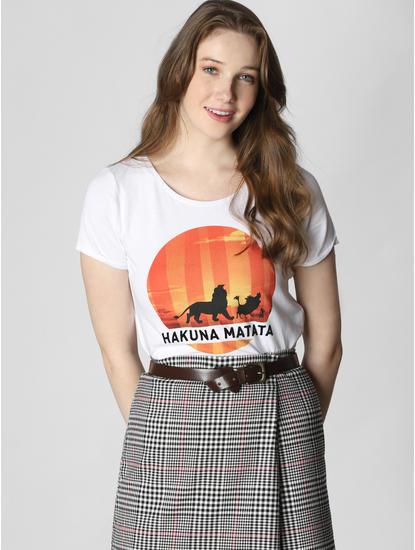X Lion King White Hakuna Matata Print T-Shirt