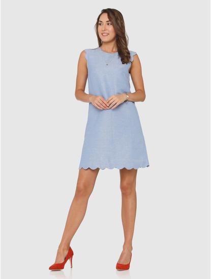 Blue Scallop Shift Dress
