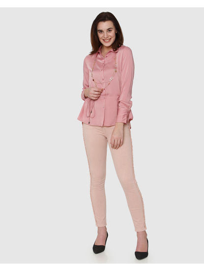 Pink Waist Tie Up Shirt