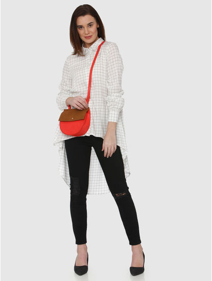 White Checks High Low Shirt