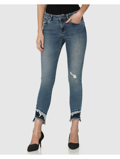 Blue Mid Rise Frayed Edge Detail Ankle Length Skinny Fit Jeans