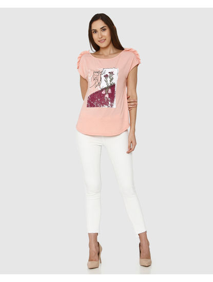 Peach Graphic Print Frill Sleeves Detail T-Shirt
