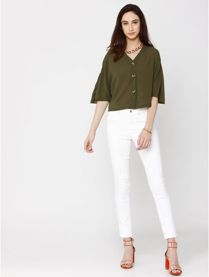 Green Cropped Shirt