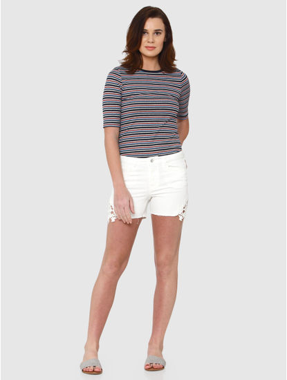 White Mid Rise Side Lace Detail Slim Fit Denim Shorts