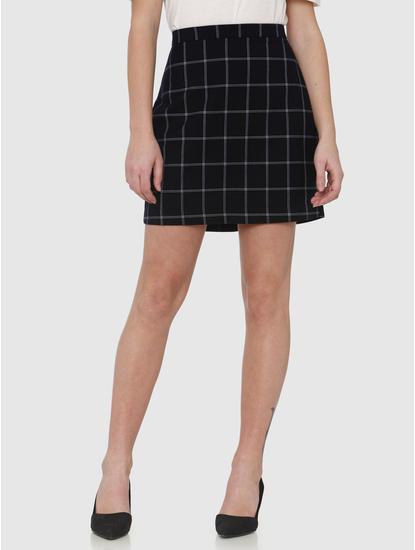 Navy Blue High Rise Checks Mini Skirt