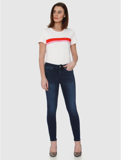 Blue Mid Rise Ankle Length Skinny Fit Jeans