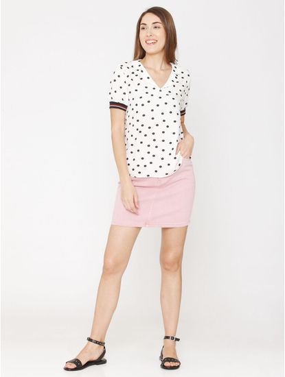 White Polka Dot Print Top