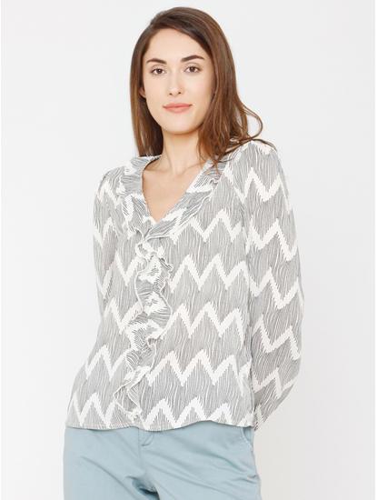 White All Over Print Ruffle Top