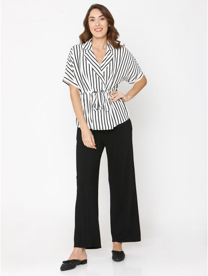White Striped Drawstring Shirt