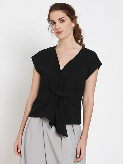Black Front Twist Detail Top